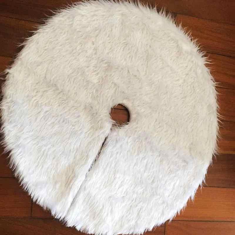 Falda de árbol de Navidad de felpa blanca casa decoración al aire libre alfombra redonda alfombra