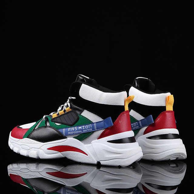 2020 Mới Giày Casual Nam Lạc-Lên Nam Thời Trang Mùa Đông Nữ Clunky Giày Sneaker Cổ Cương Cao Giúp Bố Kích Thước 39-44