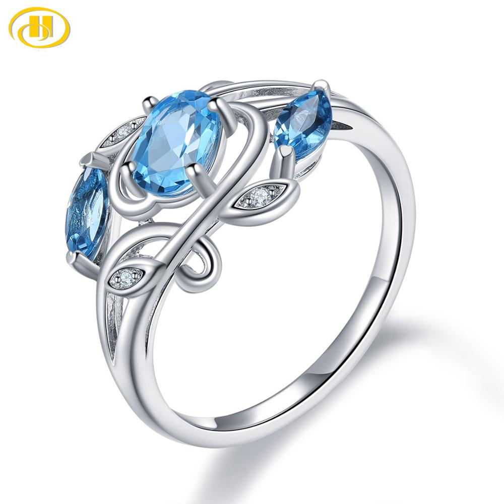 Hutang Topaz Silver Ring, Natural Blue Gemstone 925 Sterling Silver Vintage Rings, Fine Jewelry for Women's Gift, New Arrival
