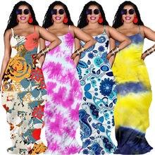 Robe longue imprimée à bretelles Spaghetti pour femmes, gaine élastique à col rond, longueur au sol, tenue Sexy à la mode