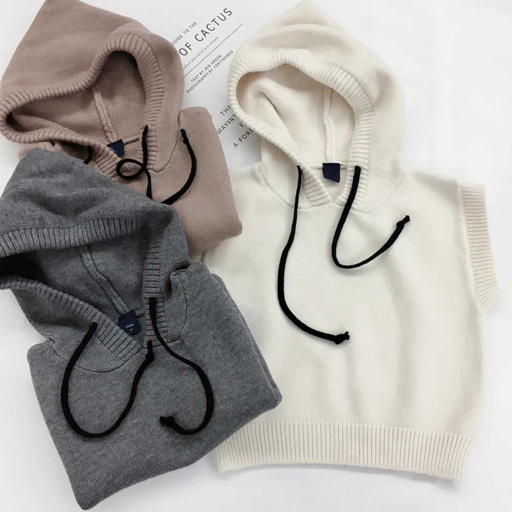 Sweater Hooded-Vest Kids Spring-Clothes Knitted Girls Autumn Pure-Color Children's Pullovers