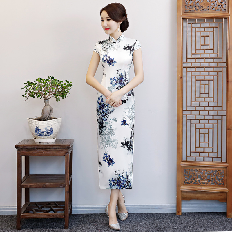 Green Printed Women Cheongsam Chinese Traditional Mandarin Collar Long Qipao Sexy High Split Slim Dress Large Size 3XL 4XL