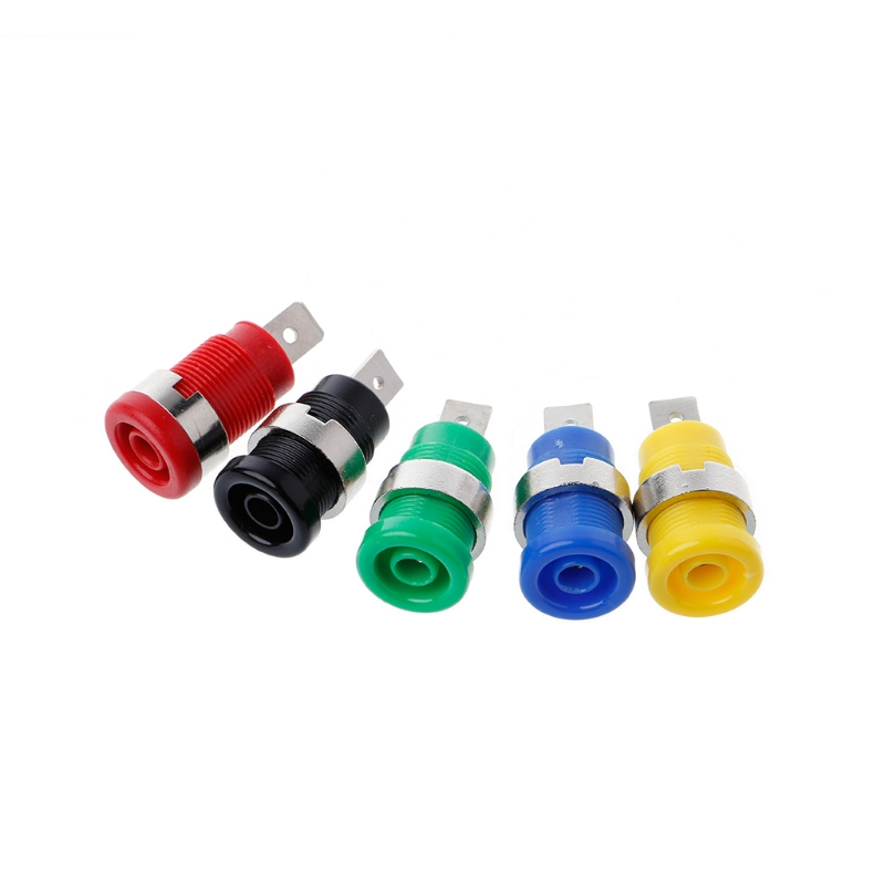 5 Pcs 4mm Banana Plugs Female Jack Socket Plug Wire Connector 5 Colors Drop Ship Support