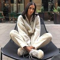 Long Sleeve White Cropped Hoodie Women Autumn Winter Pullover Short Sweatshirt Plush Zipper Faux Fur Fluffly Sweatshirt