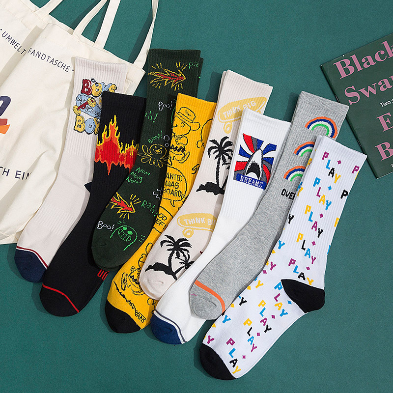 Couple Models Spring And Autumn New Korean Trend Kawaii Harajuku Socks Women With Cartoon Anime Letter Pattern Cute Socks 22504
