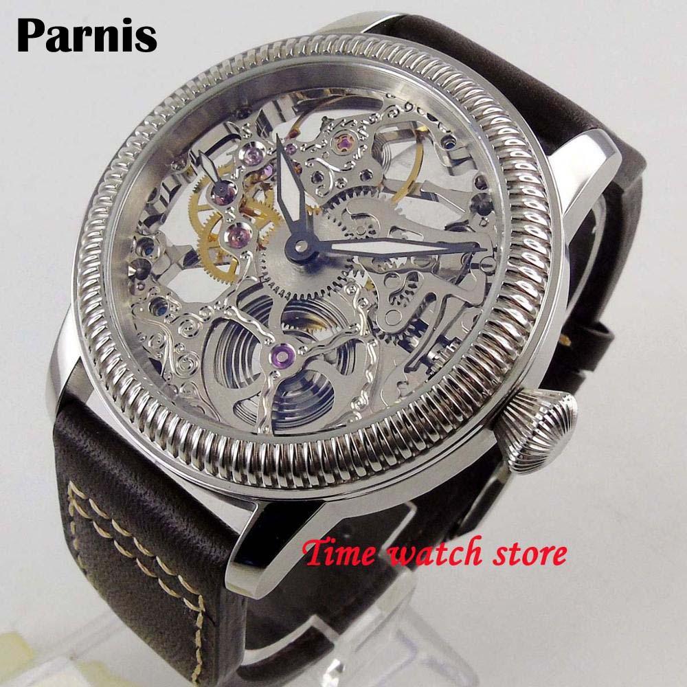 Luxury 44mm PARNIS Hollow men's watch luminous hands Asian mechanical 6497 skeleton hand winding movement Men's watch 1263 Mechanical Watches     - title=