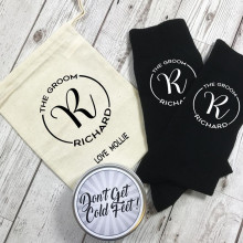 personalize name date Monogram Groom Socks with tin and Gift Bag custom best