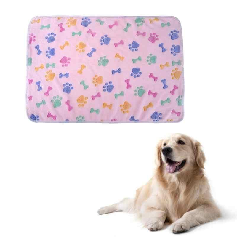 ソフトペット毛布冬犬猫ベッドマットあしあとカバータオルクッション動物サンゴフリース睡眠マットレスペット用品