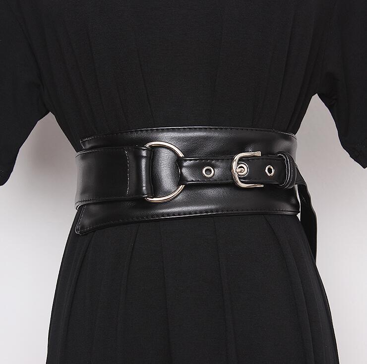 Women's Runway Fashion  Pu Leather Cummerbunds Female Dress Corsets Waistband Belts Decoration Wide Belt R2434