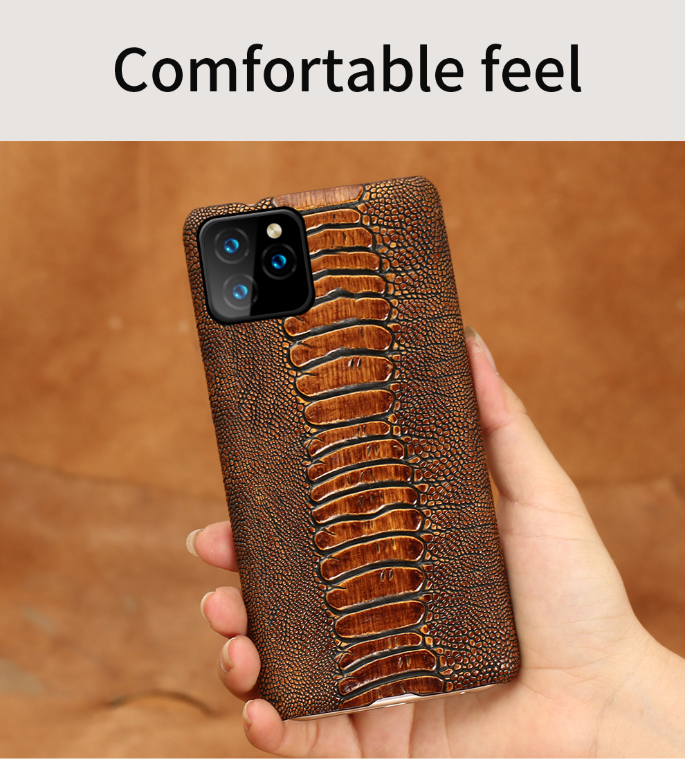 LANGSIDI Natural leather ostrich foot mobile phone case for iPhone x xr xs max 8plus 8 7 7plus 6 6s plus 11 Luxury shell cover