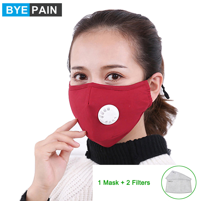 1Pcs BYEPAIN Dust Pollution Mask Dust Respirator Washable Reusable Masks Cotton Unisex Mouth Muffle for Asthma/Travel/ Cycling 1