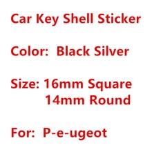 Autocollants de Logo de télécommande 3D en métal, 10 pièces, 8mm 10mm 14mm 16mm, rond et carré pour clé de voiture Peugeot