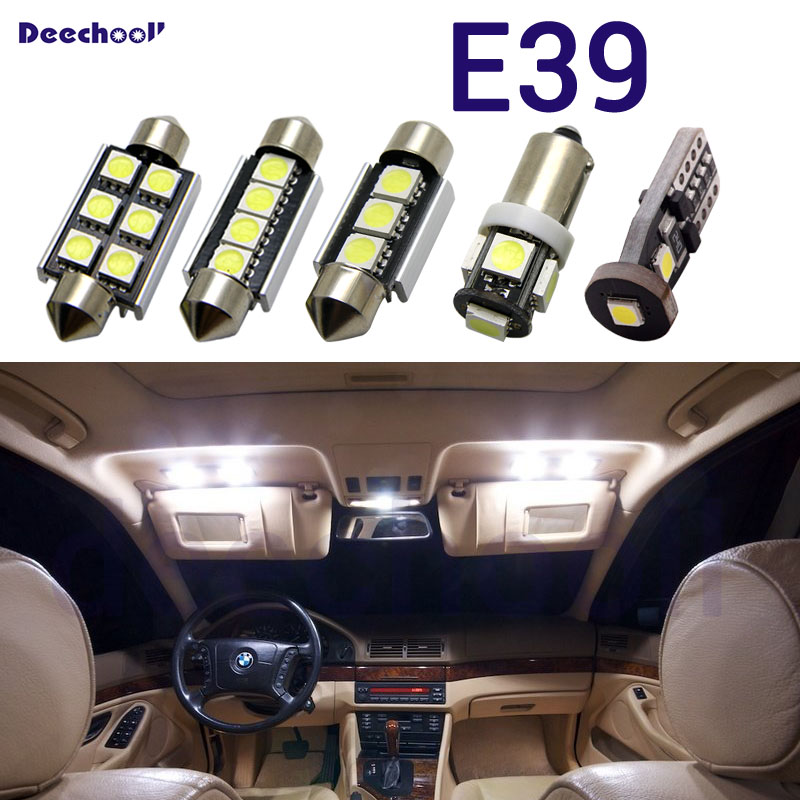Pure white LED canbus car license plate lights+interior overhead light bulbs kit for BMW 5 series E39 sedan touring 1996-2003