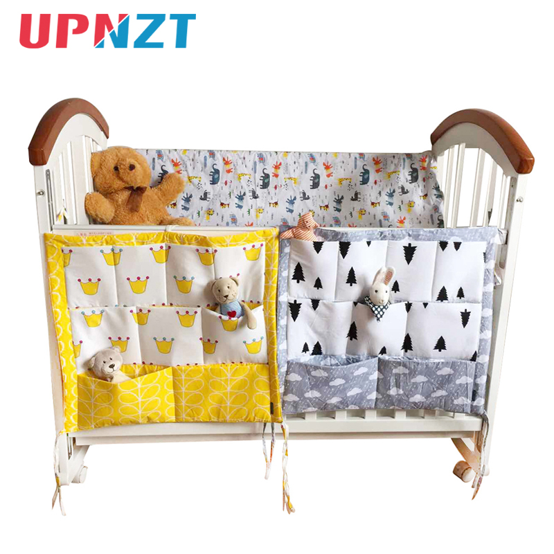 Bed Hanging Storage Bag Baby Cot Bed Brand Baby Cotton Crib Organizer 60*50cm Toy Diaper Pocket For Crib Bedding Set