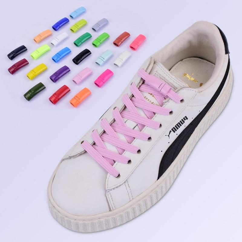 24colors Magnetic Shoelaces Elastic Locking ShoeLace Special Creative No Tie Shoes Lace Kids Adult Unisex Sneakers Laces Strings