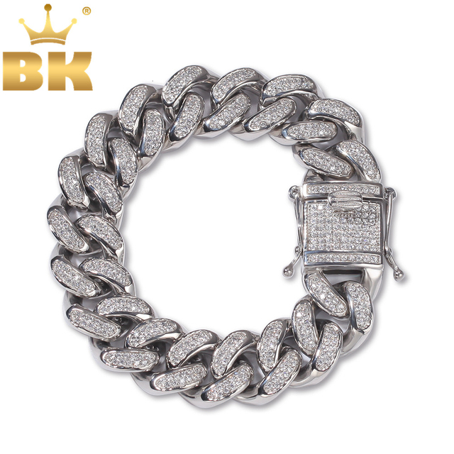 THE BLING KING 20mm Hiphop Bracelets Stainless Steel Full Bling Bling Cubic Zirconia Miami Cuban Link Bracelet Fashion Jewelry