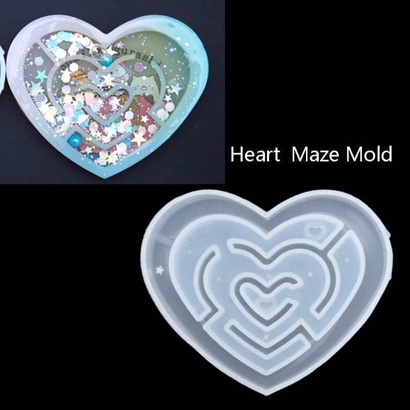 Maze Quicksand Pendant Epoxy Mold Labyrinth Fish Tank Castle Camera Keychain Molds Kit