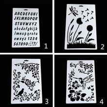 4pc/set Stencil Painting DIY Flowers Scrapbooking Photo Album Embossing Bullet Journal Stencils Reusable Template Decor