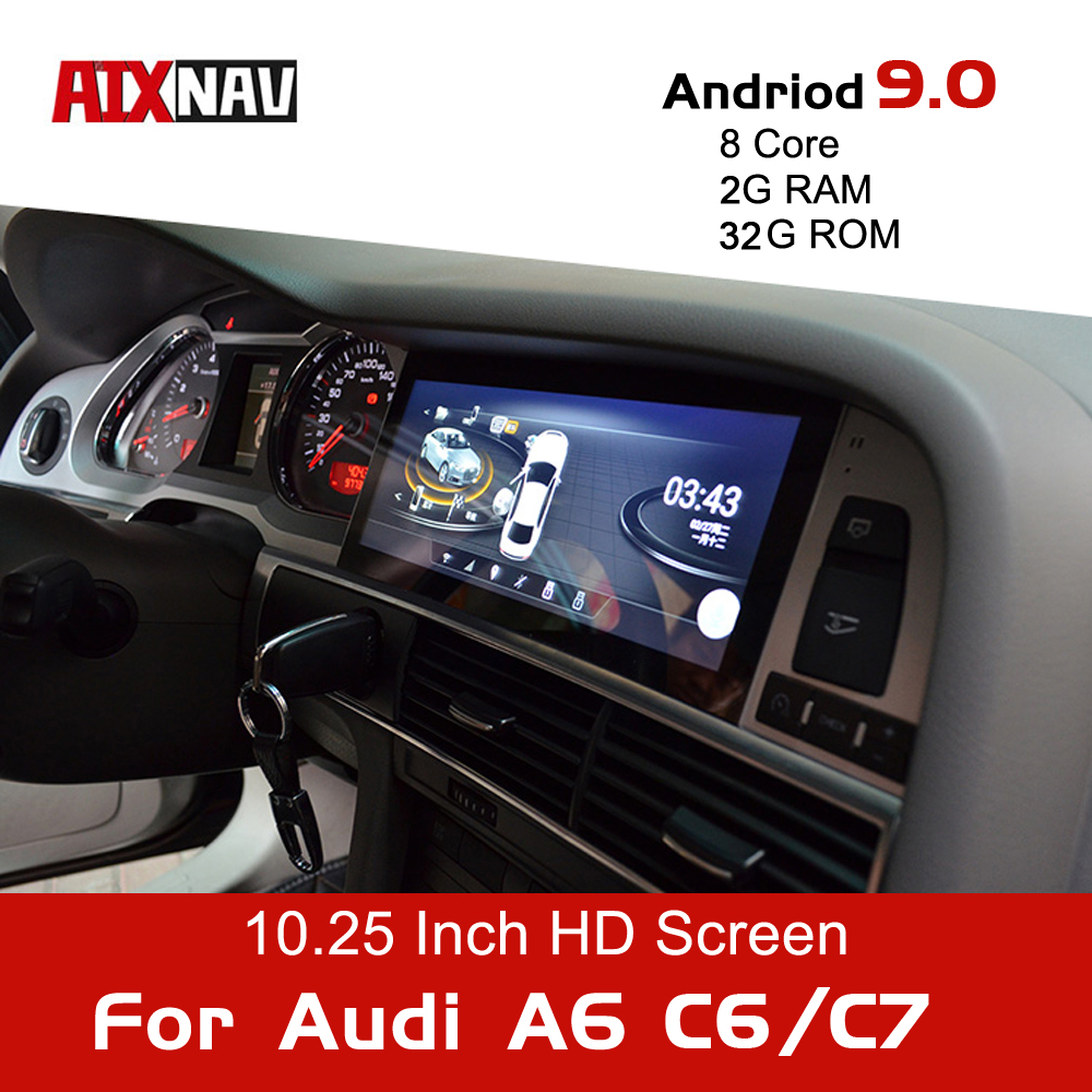 Android 9.0 8Core Car Navigation for Audi A6 Avant C6 C7 Auto Radio One Din Audio Car Multimedia Player DVD Bluetooth Screen image