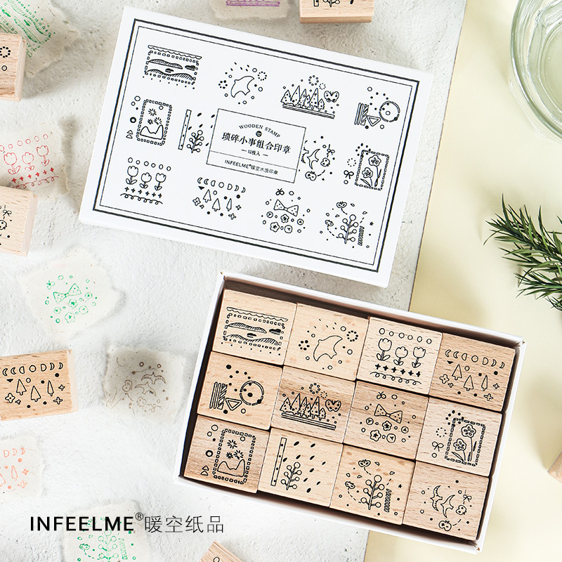 12Pcs/Set Vintage Flowers Tree Animal Decoration Stamp Wooden Rubber Stamps For Scrapbooking Stationery DIY Craft Standard Stamp