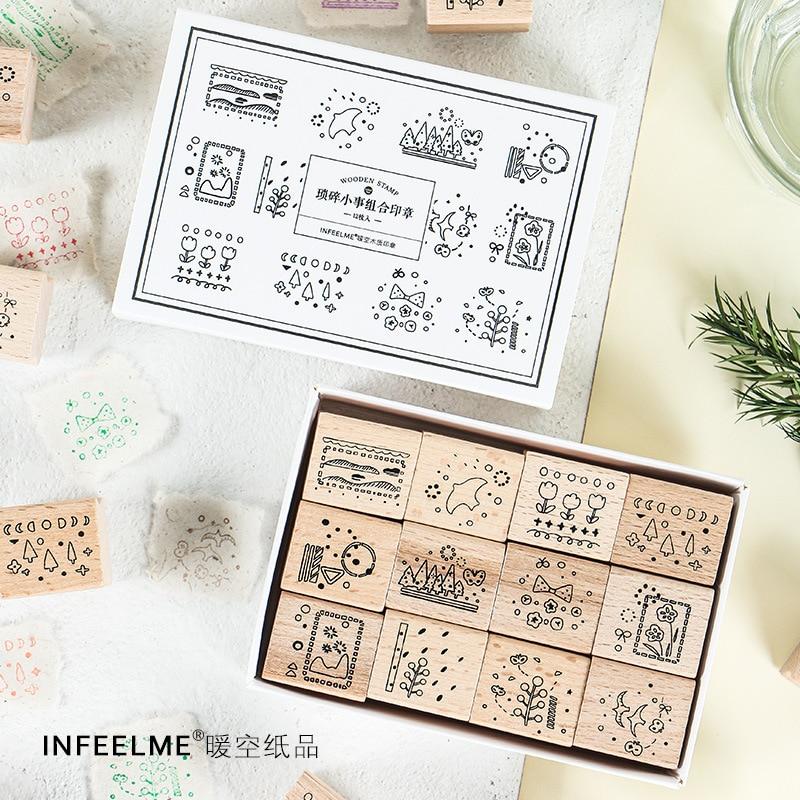 12Pcs/Set Vintage Flowers Tree Animal Decoration Stamp Wooden Rubber Stamps For Scrapbooking Stationery DIY Craft Standard Stamp