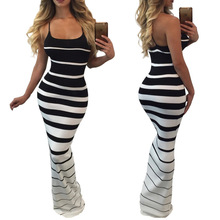 boho women dress womens clothing new fashion  striped ladies female strapless sexy slim backless dresses
