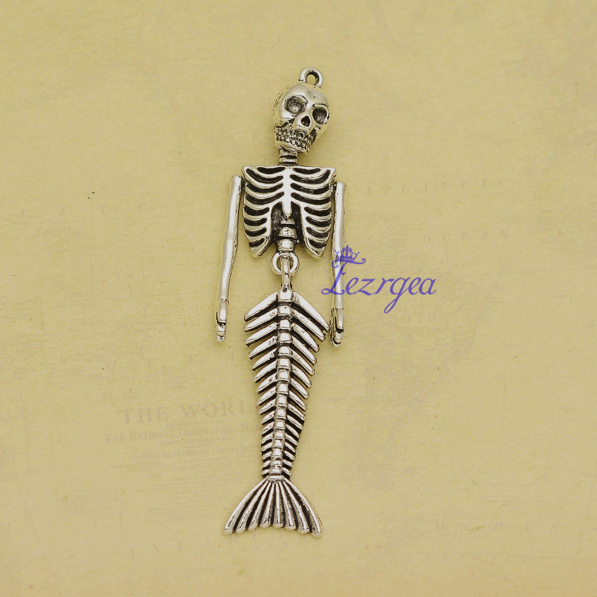 3pcs/lot--72x18mm, Antique silver plated Mermaid Skeleton charm,DIY supplies,Jewelry accessories