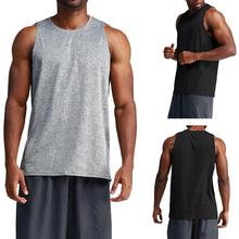 Mens Sports Summer Undershirts Slim Bottoming Sleeveless Tank Shirt Fitness Running Tops Vest  Less stretchable moderate