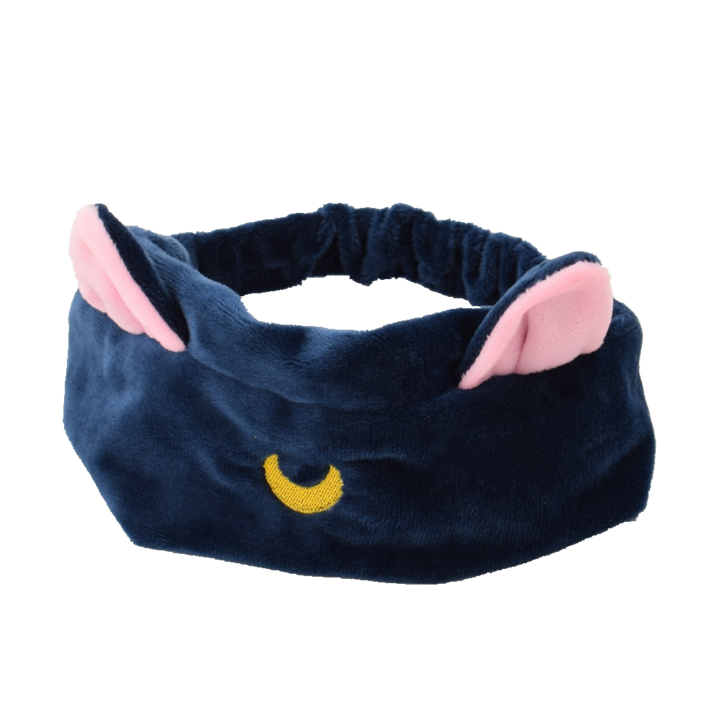 Women Elastic Cute Cat Ear Headband Cartoon Moon Embroidery Face Wash Hairband