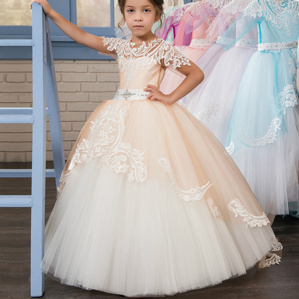 Short Sleeves 2019   Flower     Girl     Dresses   For Weddings Ball Gown Tulle Lace Crystals Bow Long First Communion   Dresses   Little   Girl