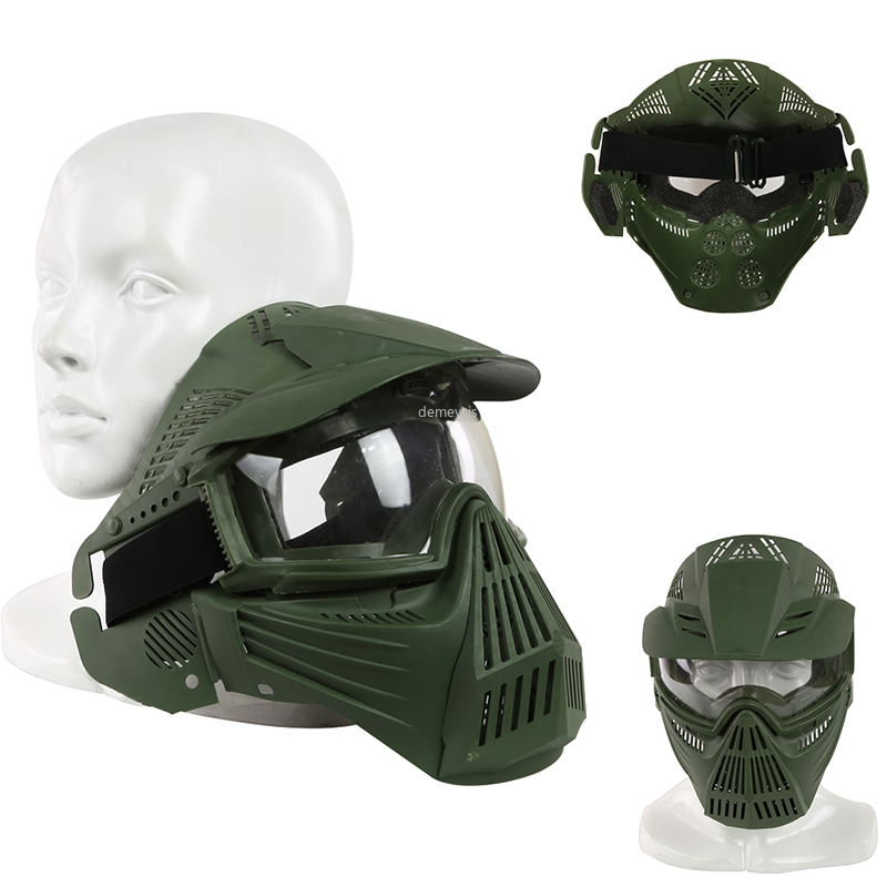 Military Tactical Mask Men Protective Safety Hunting Shooting Masks Airsoft Paintball Combat Mask Accessories With Glasses