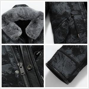 Image 5 - Gours hiver veste en cuir véritable hommes véritable peau de mouton en peau de mouton Long manteau avec col en fourrure de renard naturel doublure en laine chaude GSJF1895