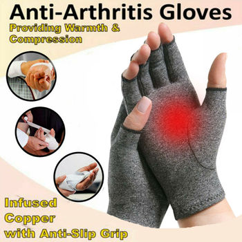 Arthritis Gloves Therapy Compression Hand Joint Pain Relief Health Care Lightweight Half-Finger