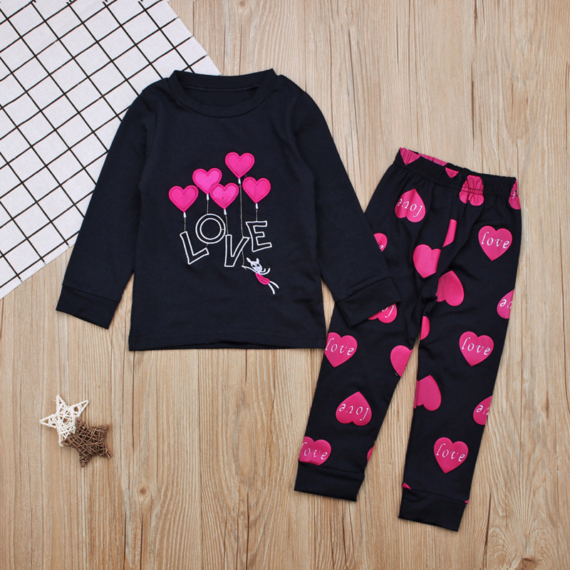 Children Europe And America Spring And Autumn-Girls LOVE Heart Long-sleeved T-shirt + Trousers Piece Tracksuit Childrenswear INS
