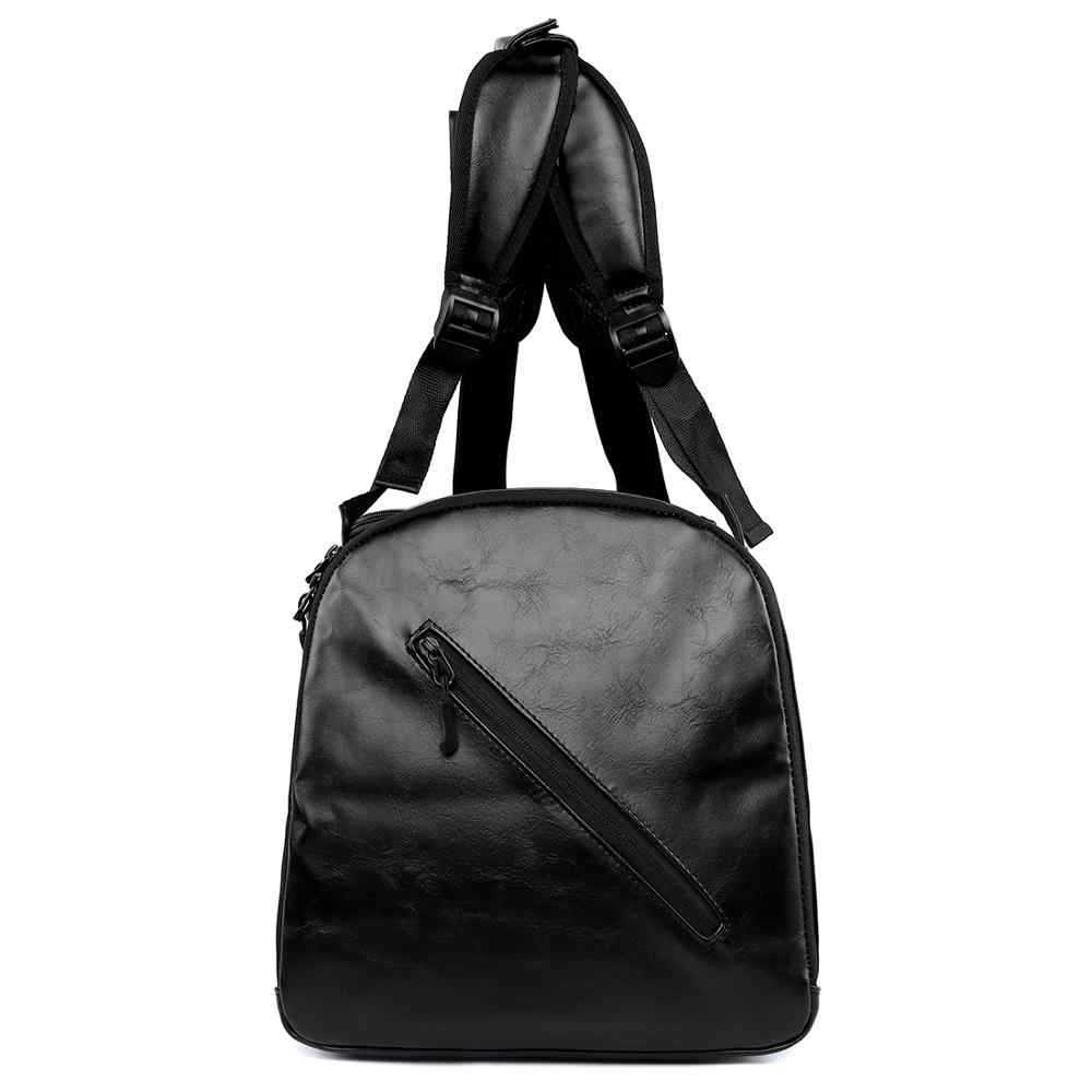 VICUNA פולו גדול קיבולת Mens עור נסיעות תרמיל עם נעל כיס מזדמן מוצק שחור נסיעות תיק זכר תיק