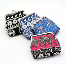 Fashion New Ethnic Style Elephant Coin Purse Gift Bag Bohemian Canvas Printing Ladies Storage Wallet Simple Cute
