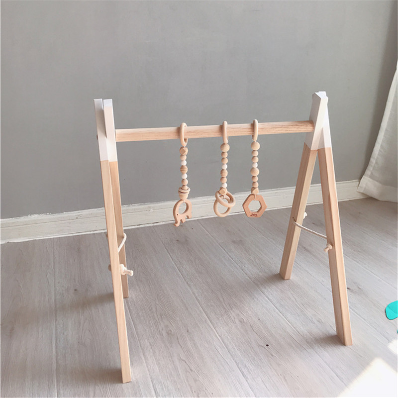 Nordic Baby Activity Gym Rack Play Nursery Sensory Ring-pull Toys for Children Wooden Frame Toddler Clothes Rack Kids Room Decor | Happy Baby Mama