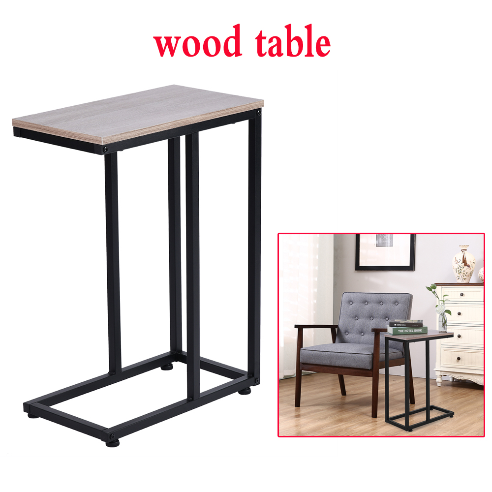 Simple Iron Sofa Accent Table Wood Grain Desk For Living Room Night Table For Bedroom Accent Furniture Home Decoration