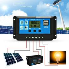 30A Solar Charge Controller HD LCD Display Auto Work Solar Charge Controller Dual USB Auto PWM Output Solar Cell Panel Regulator