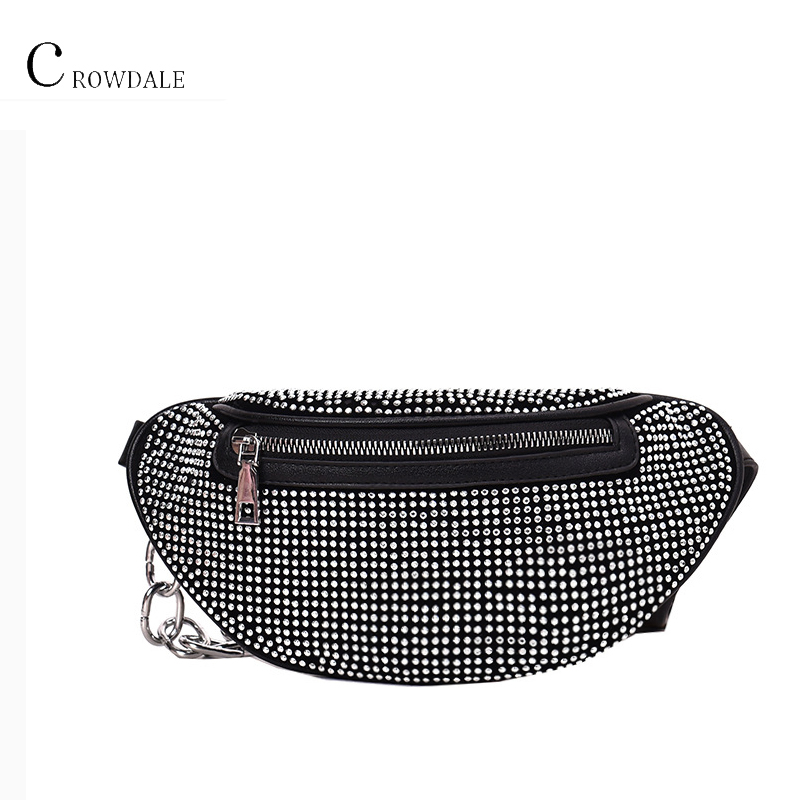 CROWDALE Women's Waist Bag Diamonds Ladies Fanny Pack Fashion Chest Bag Banana Rhinestone Chain Crossbody Shoulder Bags Belt Bag