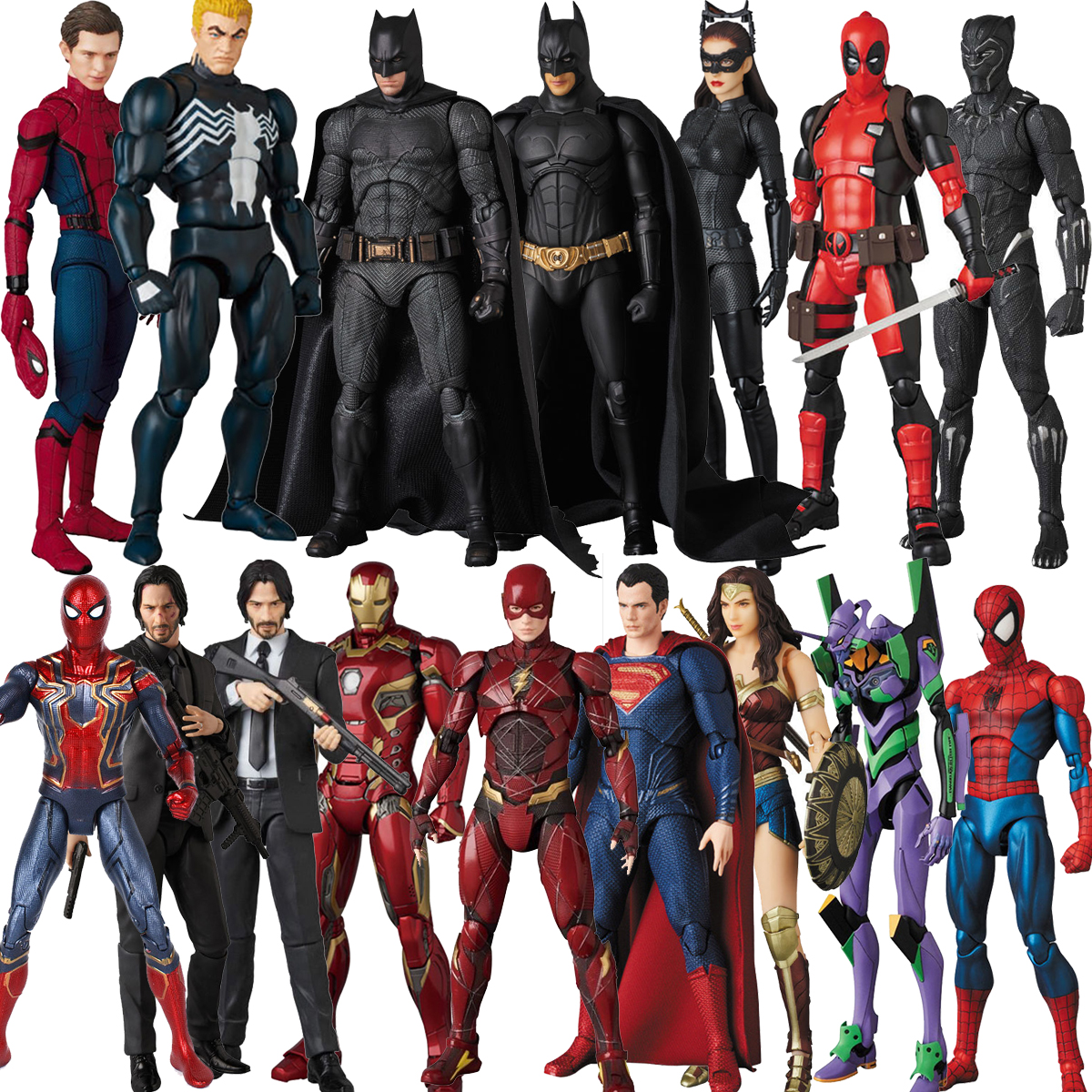 Mafex John Wick Black Panther Spiderman Deapool  Venom Superman Wonder Woman Flash Aquaman Iron Spider Man Batman  Action Figure