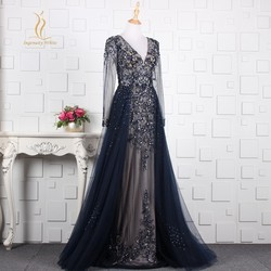 Long Sleeves Evening Dresses Navy Blue Sheer Back with Overskirt Tulle Dubai Prom Party Gown Lace Applique Robe De Soiree zd2011