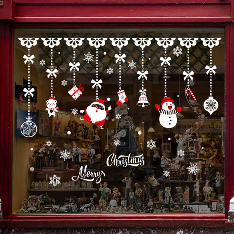 Bricolage blanc neige noël Stickers muraux fenêtre verre Festival Stickers Santa peintures murales nouvel an décorations de noël pour la décoration intérieure