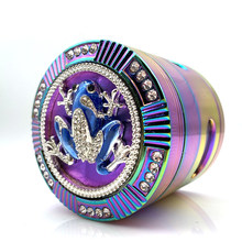 New Style Tobacco Grinder Frog Shape 4 Layers 63mm Rainbow Color Zinc Alloy Herb Grinder for Smoking Weed Tobacco Crusher