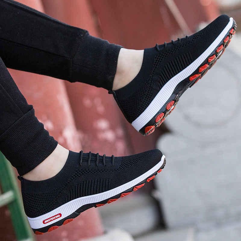 HEFLASHOR moda açık erkek renk ayakkabı yüksek kaliteli marka bandaj nefes ayakkabı örgü yumuşak harfler tenis erkek ayakkabı