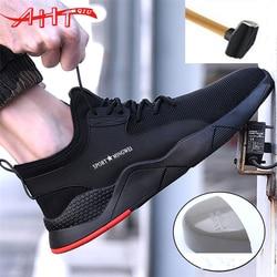 Homem de aço cabeça trabalho sapatos de segurança casual respirável esportes ao ar livre sapatos punctura botas de proteção masculino confortável industrial