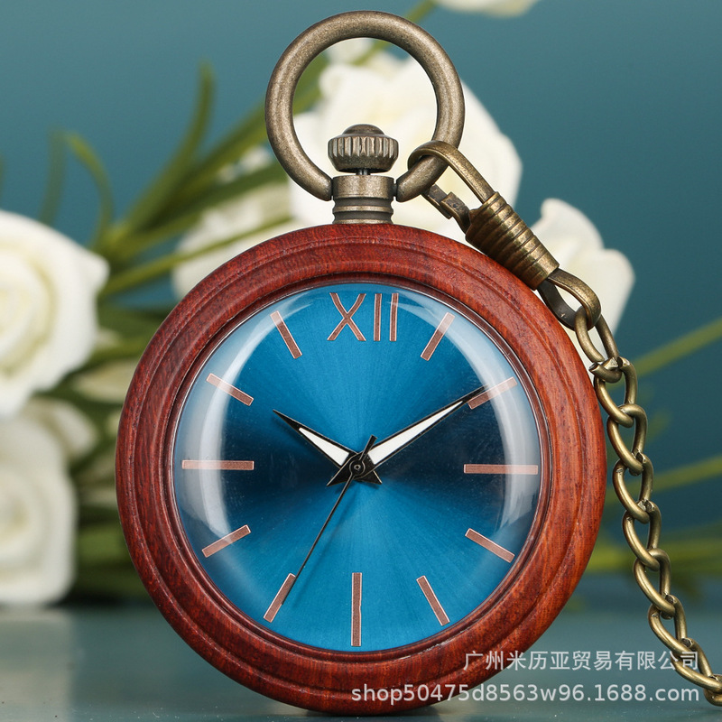 Red Sandalwood Blu-ray Surface Mei Golden Rome Nail UP Men's And Women's Leisure Quartz Pocket Watch A Undertakes