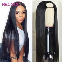 Perruque u-part Wig naturelle brésilienne Remy, sans colle, cheveux humains lisses, densité 180, bon marché, pour femmes