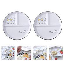 2 sztuk Food zestaw talerzy ceramiczne jadalnia płyty 3-siatki dystansujące (styl losowy) tanie tanio CN (pochodzenie) Food Divided Plate Simple Food Plate Household Dinning Plate Divided Ceramic Plate Diet Plate