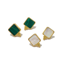 High Quality Delicate Ins Malachite White Fritillary Equare Earrings for Women Fashion Jewelry Best Gift